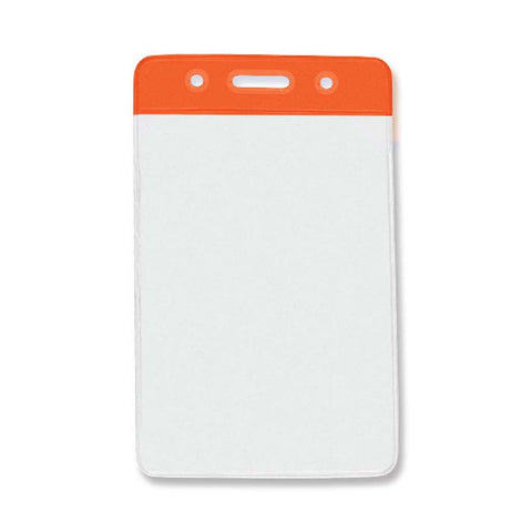 Vinyl Badge Holder, Clear W/Orange Bar At Top, Cr80 Vertical (100/Pk)