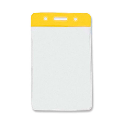 Vinyl Badge Holder, Clear W/Yellow Bar At Top, Cr80 Vertical (100/Pk)