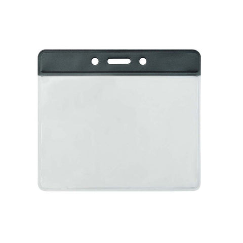 "Vinyl Badge Holder, Clear W/Black Bar At Top, 4"" X 2.85"" Horizontal (100/Pk)"