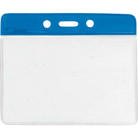 "Vinyl Badge Holder, Clear W/Blue Bar At Top, 4"" X 2.85"" Horizontal (100/Pk)"