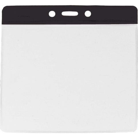 Vinyl Extra Large Badge Holder, Clear W/Black Bar At Top Horizontal (100/Pk)
