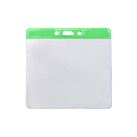 Vinyl Extra Large Badge Holder, Clear W/Green Bar At Top Horizontal (100/Pk)