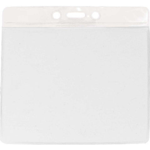 Vinyl Extra Large Badge Holder, Clear W/White Bar At Top Horizontal (100/Pk)