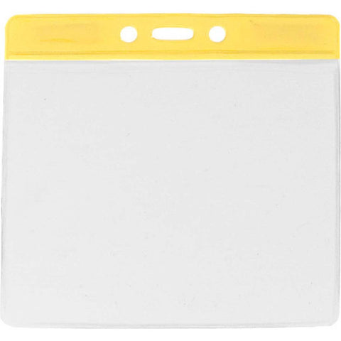 Vinyl Extra Large Badge Holder, Clear W/Yellow Bar At Top Horizontal (100/Pk)