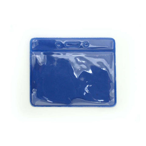Coloured Vinyl Badge Holder, Clear, Blue Back, Cr80 Horizontal (100/Pk)