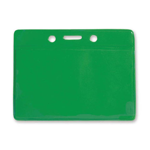 Coloured Vinyl Badge Holder, Clear, Green Back, Cr80 Horizontal (100/Pk)