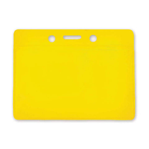 Coloured Vinyl Badge Holder, Clear, Yellow Back, Cr80 Horizontal (100/Pk)