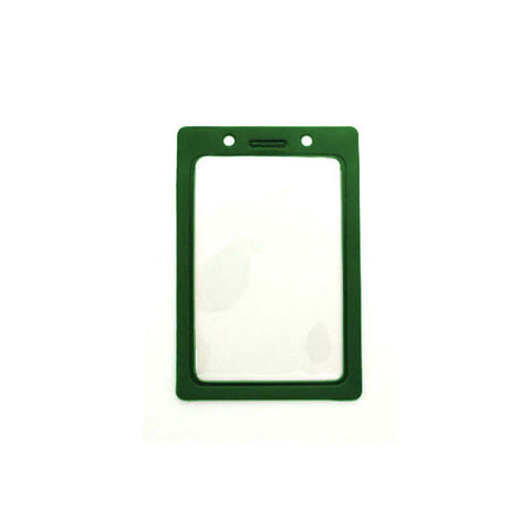 Vinyl Badge Holder W/Green Coloured Frame, Cr80 Vertical (100/Pk)