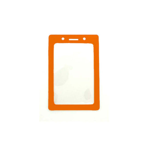 Vinyl Badge Holder W/Orange Coloured Frame, Cr80 Vertical (100/Pk)