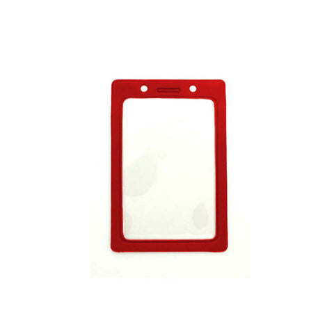 Vinyl Badge Holder W/Red Coloured Frame, Cr80 Vertical (100/Pk)