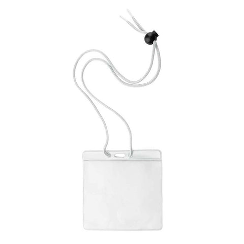 "Large All-In-1 Event Badge Holder, W/White Top Horizontal, 36"" Cord (100/Pk)"