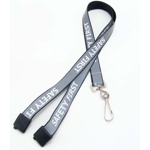 "5/8"" Premium Preprinted Black ""Safety First"" Reflective Lanyard W/Breakaway (25/Pk)"