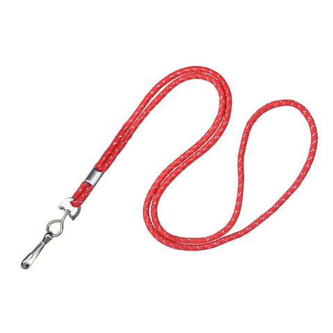 "1/8"" Round Lanyard Metallic Red W/Nickel-Plated Steel Crimp And Swivel-Hook (25/Pk)"