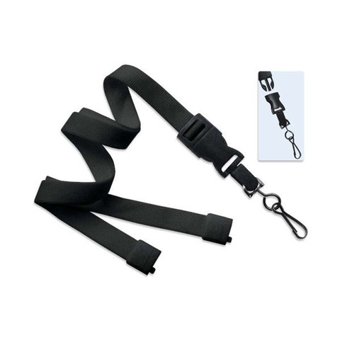 "5/8"" Flat Lanyard, Black W/Detachable Swivel Hook, W/Breakaway (25/Pk)"