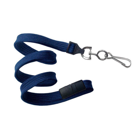 "3/8"" Flat Lanyard, Navy, W/Breakaway And Nps Swivel Hook (25/Pk)"