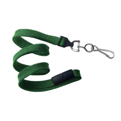 "3/8"" Flat Lanyard, Green, W/Breakaway And Nps Swivel Hook (25/Pk)"