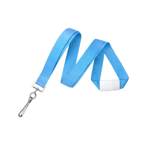 "5/8"" Flat Lanyard Neon Blue W/Breakaway And Sewn Nickel-Plated Steel Swivel-Hook (25/Pk)"
