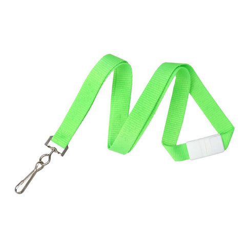 "5/8"" Flat Lanyard Neon Green W/Breakaway And Sewn Nickel-Plated Steel Swivel-Hook (25/Pk)"