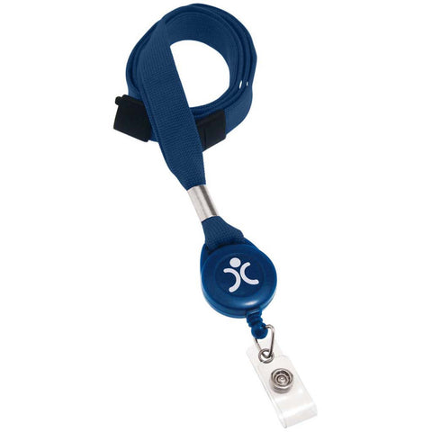 "5/8"" Flat Lanyard Badge Reel Combo, Navy W/Breakaway And Clear Vinyl Strap (25/Pk)"