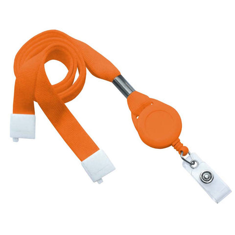 "5/8"" Flat Lanyard Badge Reel Combo, Orange W/Breakaway And Clear Vinyl Strap (25/Pk)"
