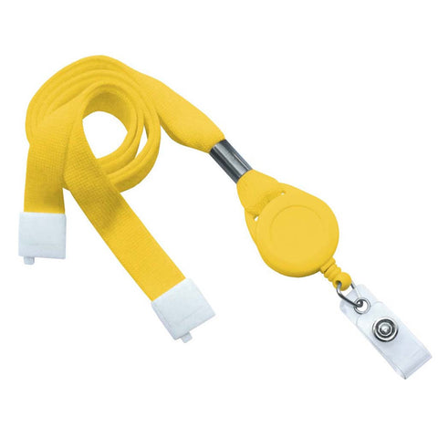 "5/8"" Flat Lanyard Badge Reel Combo, Yellow W/Breakaway And Clear Vinyl Strap (25/Pk)"