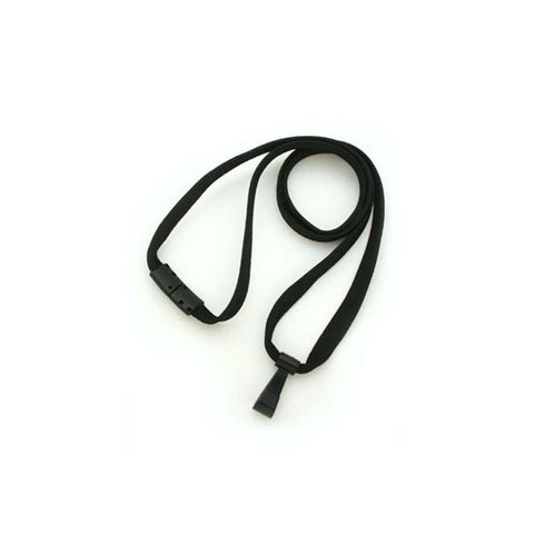 "3/8"" Flat ""No Flip"" Lanyard, Black, W/Breakaway And Black Wide Plastic Hook (25/Pk)"