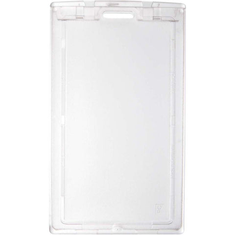 Locking Polycarbonate 2 Card Badge Holder, Clear, Cr80 Vertical (50/Pk)