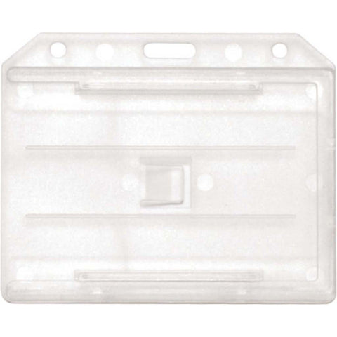 Abs 2-Sided,4 Card Badge Holder, Clear, Cr80 Horizontal (50/Pk)