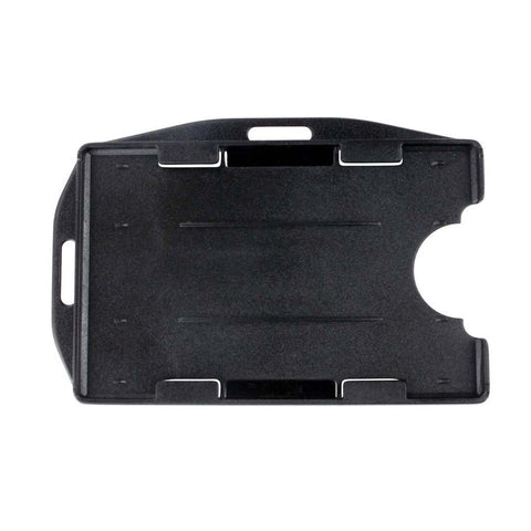 Rigid Plastic 2 Card Badge Holder, Black, Cr80 Vertical Or Horizontal (50/Pk)