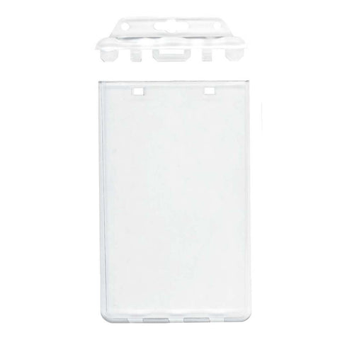 Locking Rigid Abs 2 Card Prox Badge Holder, Clear, Cr80 Vertical (50/Pk)
