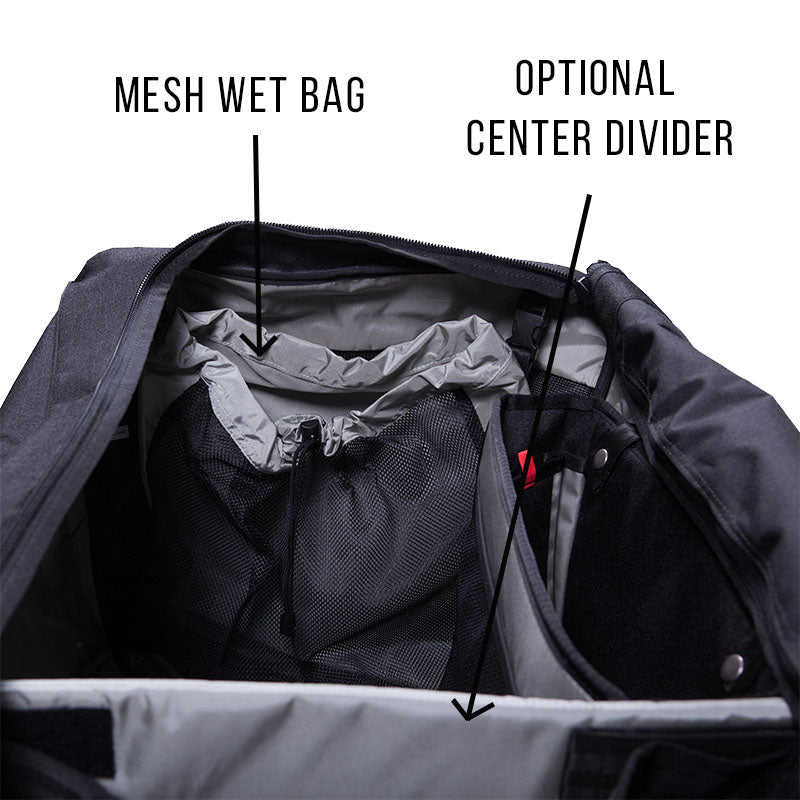 Dry / Wet Mesh Removable Bag, Hockey Bag, Center Divider