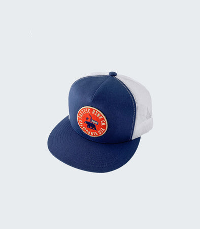 State Seal Flat Bill Trucker | Navy/White