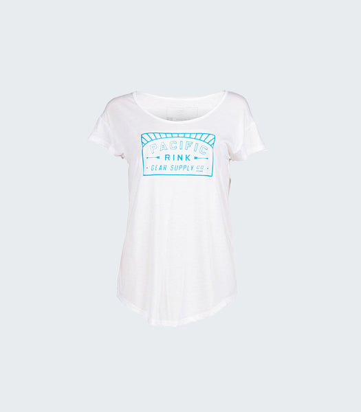 Pacific Sunset Scoop Tee | White