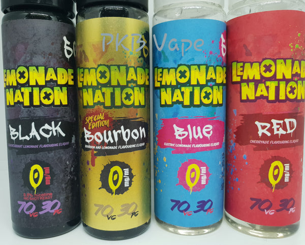 Lemonade Nation E-liquid - Black Lemonade (Blackcurrant), Bourbon Lemonade, Blue Lemonade (Blue Raspberry), Red Lemonade (Cherryade) 50ml Shortfill - 0mg - PKB-Vape