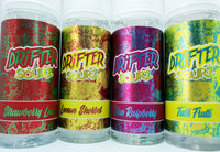 Drifter e liquid - 8 Flavours - Blue Raspberry - Lemon Sherbet - Strawberry Laces - Tutti Frutti - BlueBerry Crumble - Cherry Crumble - Rhubarb Crumble - Ugli Fruit Crumble -100/120 ml Short fill - 0 mg - PKB-Vape