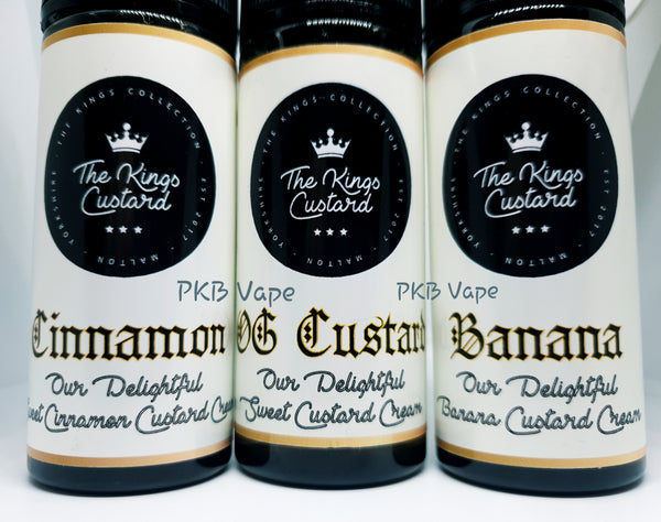 The Kings Custard E-liquid -Nameless - Shamrock - OG Custard - Banana Custard - Cinnamon Custard - 100/120 ml Shortfill - PKB-Vape