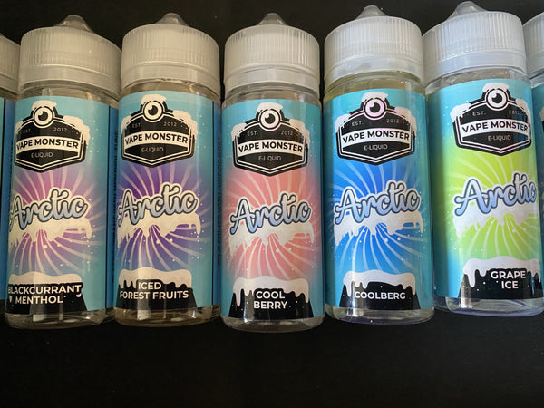 Arctic e liquid - 5 Flavours 100 / 120 ml - Blackcurrant Menthol, Coolberg, Cool Berry, Grape Ice, Iced Forest Fruits