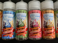 Ice Cream King e liquid - 4 Flavours 100 / 120 ml - Bubble Gum, Marshmallow, Mint Choc Chip, Toffee Fudge