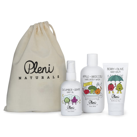 The Pleni Naturals Childrens Essentials Gift Set is a perfect gift for a baby shower, new mom or someone who you want to gift nontoxic skincare. The gift set is great for babies and kids and it comes in an organic, reusable organic muslin bag. All three products in this gift set is certified nontoxic and Dermatologist Tested.