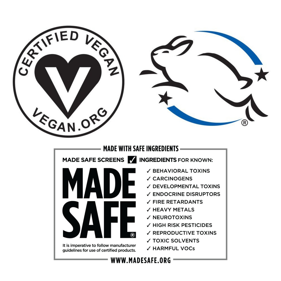 certification seals from Vegan Action, Leaping Bunny and Made Safe which means the pleni products are cruelty free, vegan and found to be safe for human use and also our ecosystems.