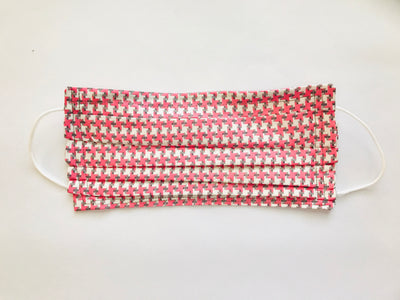 Pink & Grey Fabric Pleated Cloth Face Mask