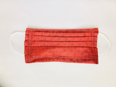 Deep Orange Swirl Pleated Cloth Face Mask