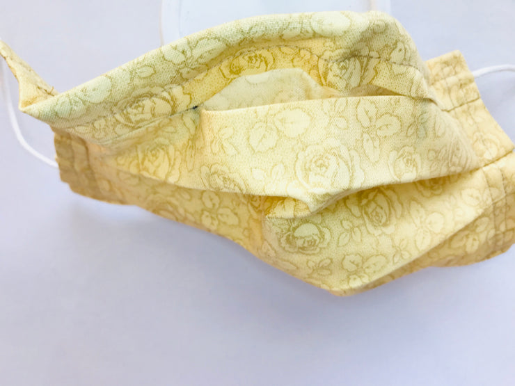 Yellow Rose Pleated Cloth Face Mask