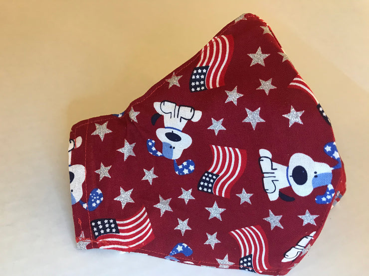 Doggie Red White & Blue Cloth Face Mask