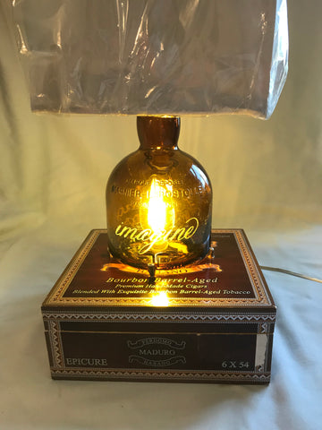 Grand Recycled Wine Bottle, Cigar Box Edison Lamp