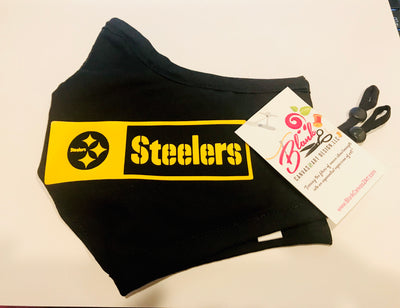 Black Pittsburgh Steelers Fitted Face Mask