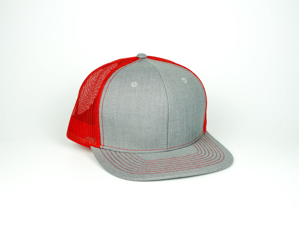 Linen Trucker - Dark Grey/Red