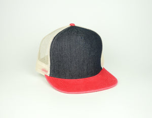 Five Panel Trucker - Black/Red/Cream
