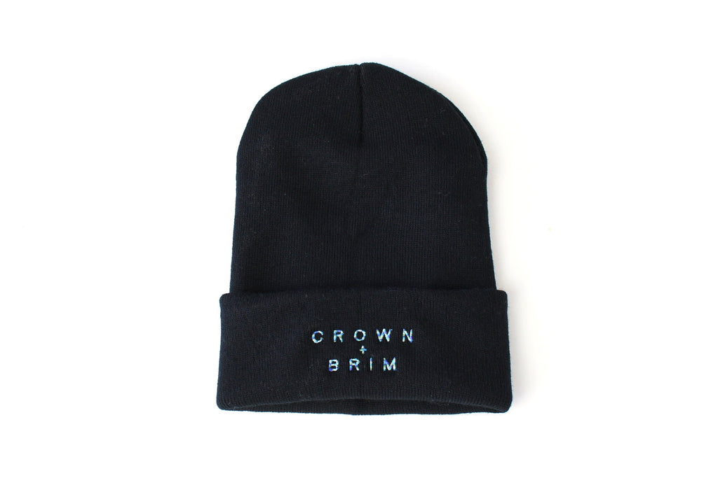 Crown + Brim Beanie - Black + Cool Marble
