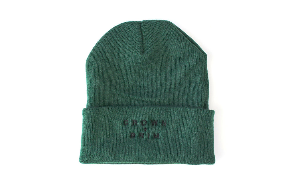 Crown + Brim Beanie - Forest + Black